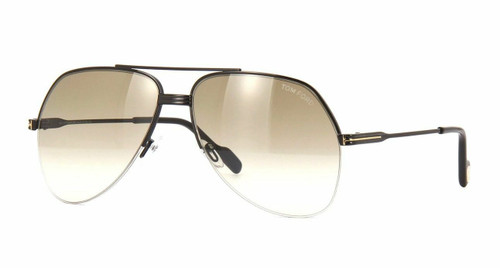 Authentic Tom Ford LUCA 02 FT 0650 Gold/gold Brown Mirror (30G) Sunglasses