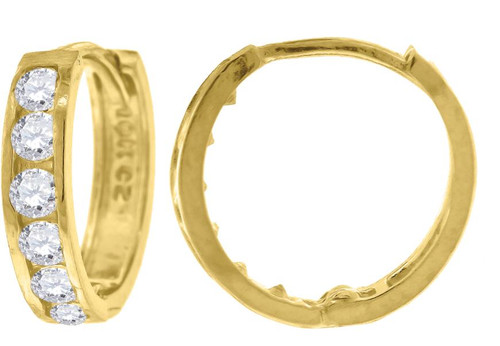 10kt Yellow Gold Womens Simulated Diamonds Polished Finish Hoop Earrings