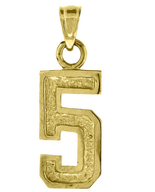 10kt Yellow Gold Unisex 5 Five Number Charm Pendant