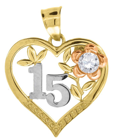 10kt Gold Tri-Color SD Womens 15 Anos Heart Flower Quinceanera Charm Pendant