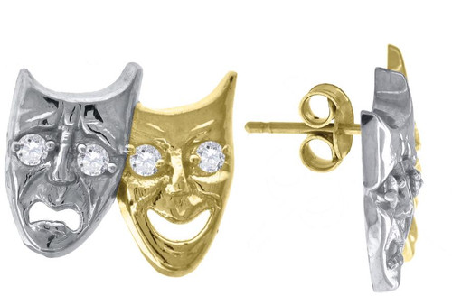 10kt Yellow Gold Two-tone SD Mens Womens Comedy Tragedy Mask Push Back Studs