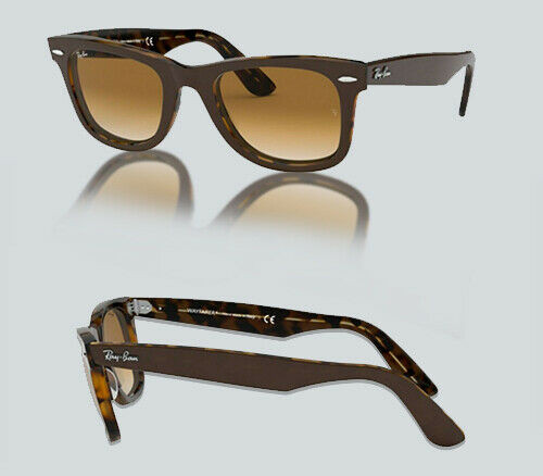Authentic Ray Ban RB 2140 F NEW WAYFARER  127651 TOP BROWN YELLOW Sunglasses