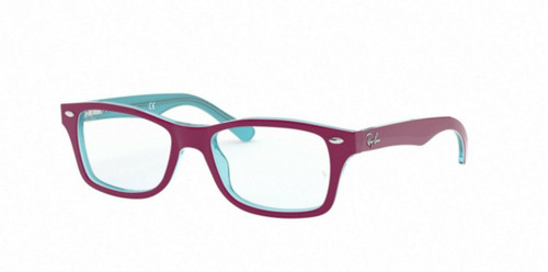 AUTHENTIC RAY BAN JUNIOR 0RY1531 3763 AZURE TRASPARENT TOP ON FUXIA EYEGLASSES