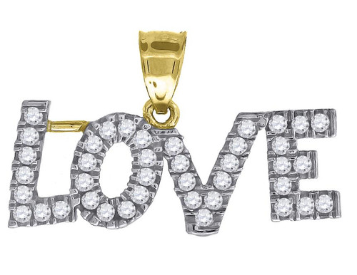 10kt Two-tone Gold Womens Simulated Diamonds Love Charm Pendent