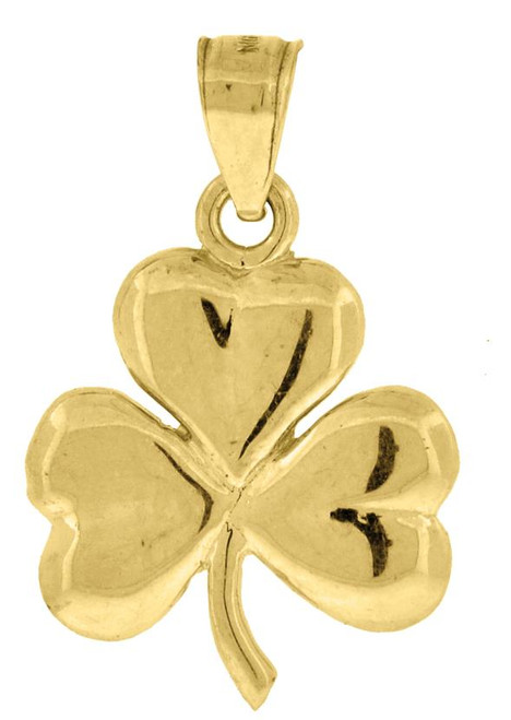 10kt Yellow Gold Polished Unisex Clover Leaf Luck Charm Pendant