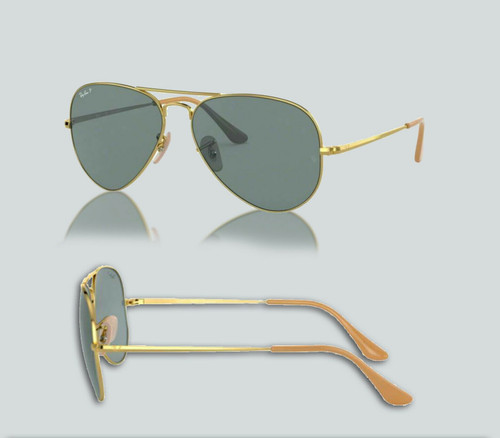 Authentic Ray Ban 0RB3689 Aviator Metal II 9064S2 Gold Polarized Sunglasses