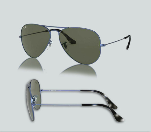 Authentic Ray Ban 0RB3025 Aviator Large Metal 918731 Sand Trans Blue Sunglasses