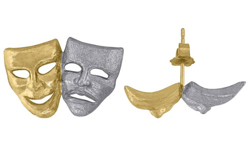 10kt Yellow Gold Polished Mens Comedy Tragedy Masks Push Back Studs