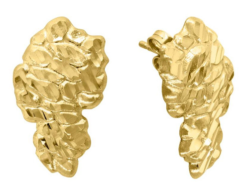 10kt Yellow Gold  Diamond Cut Nugget Mens Push Back Studs