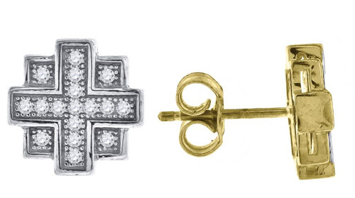 10kt Yellow Gold Two-tone Simulated Diamonds Mens Push Back Studs