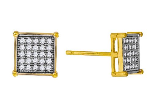 10kt Yellow Gold Two-tone Simulated Diamonds Mens Square Push Back Studs