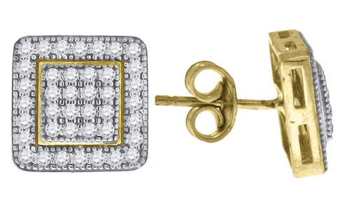 10kt Yellow Gold Two-tone Simulated Diamonds Mens Womens Square Push Back Studs