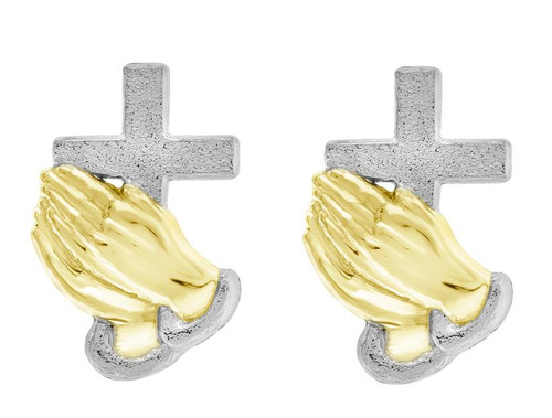10kt Yellow Gold Two-tone Polished Mens Cross Praying Hands Push Back Studs