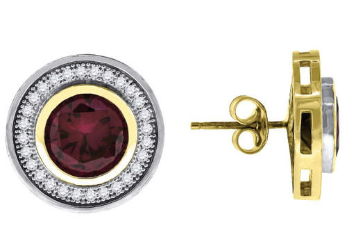 10kt Yellow Gold Two-tone SD Mens Womens Red Stone Center Push Back Studs