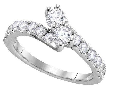 14kt White Gold Diamond 2 Stone Womens Bridal Wedding Engagement Ring 1/2 Cttw