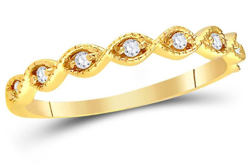 14kt Yellow Gold Diamond Womens Stackable Band Ring 1/10 Cttw