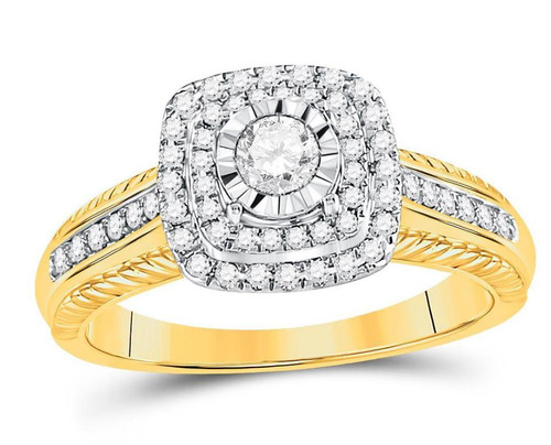 14kt Yellow Gold Diamond Womens Bridal Wedding Engagement Ring 1/2 Cttw