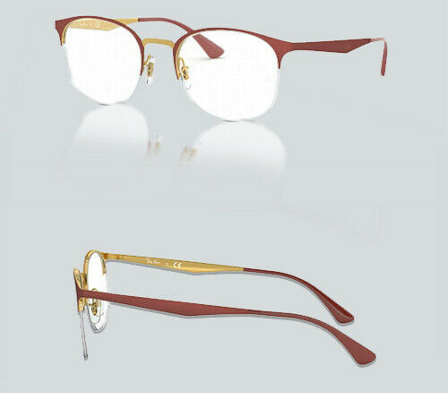 Authentic Ray Ban 0RX 6422 3046 TOP MATTE RED ON SHINY GOLD Eyeglasses