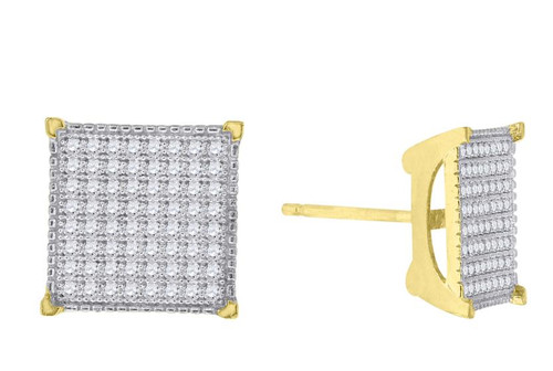 10kt Yellow Gold Womens SD Polished Finish Square Stud Earrings