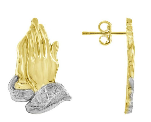 10kt Yellow Gold Two-tone Polished Mens Praying Hands Push Back Studs