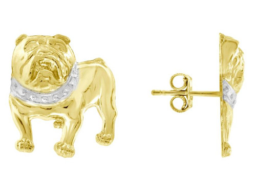 10kt Yellow Gold Two-tone Polished Mens Bull Dog Push Back Studs