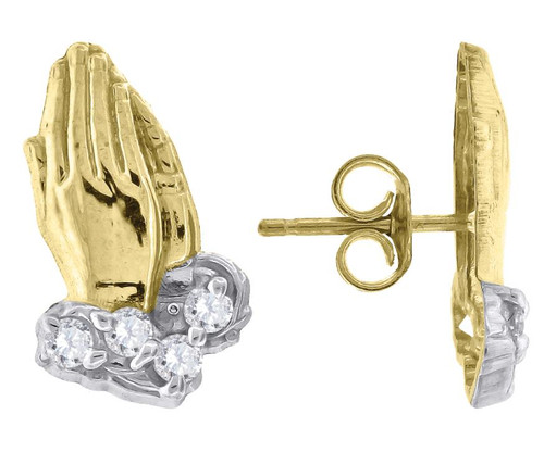 10kt Yellow Gold Two-tone SD Diamond Cut Mens Praying Hands Push Back Studs