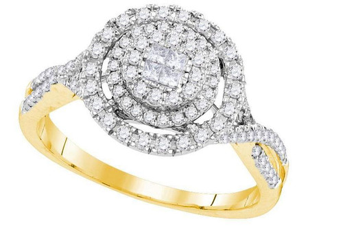 14kt Yellow Gold Diamond Soleil Cluster Bridal Wedding Engagement Ring 1/2 Cttw