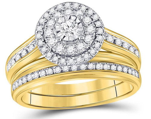 14kt Yellow Gold Diamond Womens Bridal Wedding Engagement Ring Band Set 1/2 Cttw