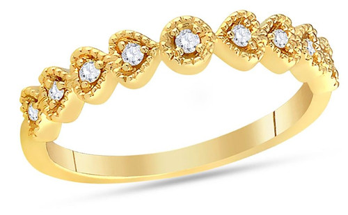 14kt Yellow Gold Diamond Heart Womens Stackable Band Ring 1/10 Cttw