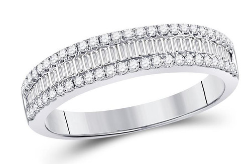 14kt White Gold Baguette Diamond Womens Triple Row Band Ring 1/2 Cttw