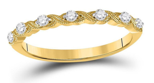 14kt Yellow Gold Diamond Womens Stackable Band Ring 1/8 Cttw
