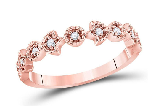 14kt Rose Gold Diamond Womens Stackable Band Ring 1/10 Cttw