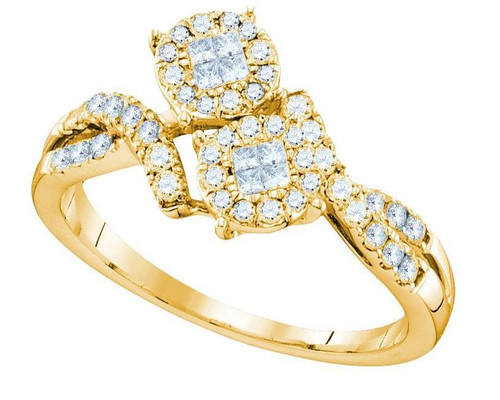 14kt Yellow Gold Diamond Soliel Cluster Bypass Wedding Engagement Ring 1/2 Cttw