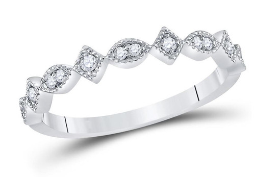 14kt White Gold Diamond Womens Stackable Band Ring 1/8 Cttw