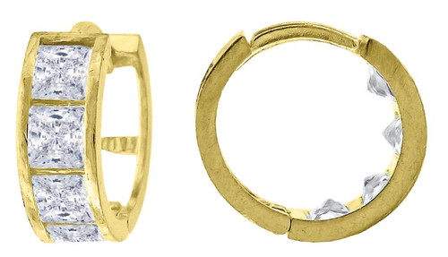10kt Yellow Gold Womens Princess Cut SD Polished Finish Hoop Earrings