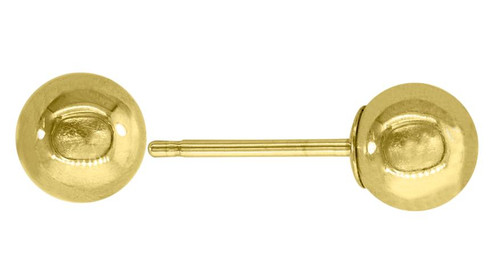 14kt Yellow Gold Unisex Polished Ball Studs 5mm Push Back Earrings