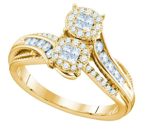 14kt Yellow Gold Diamond Soliel Bypass Bridal Wedding Engagement Ring 1/2 Cttw