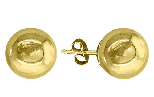 14kt Yellow Gold Unisex Polished Ball Studs 9mm Push Back Earrings