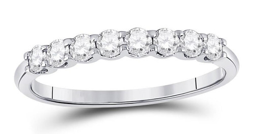 14kt White Gold Diamond Womens Stackable Band Ring 1/2 Cttw