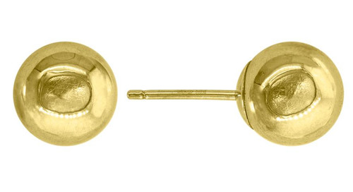 14kt Yellow Gold Unisex Polished Ball Studs 7mm Push Back Earrings