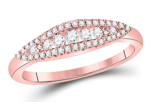 14kt Rose Gold Diamond Womens Fashion Band Ring 3/8 Cttw