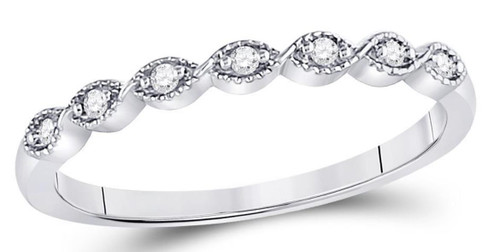 14kt White Gold Diamond Womens Stackable Band Ring 1/20 Cttw