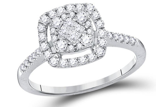 14kt White Gold Diamond Cluster Women Princess Bridal Ring 1/2 Cttw