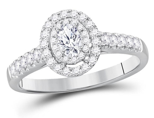 14kt White Gold Oval Diamond Solitaire Halo Womens Bridal Ring 1/2 Cttw