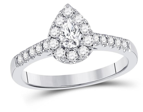 14kt White Gold Pear Diamond Solitaire Womens Bridal Ring 1/2 Cttw