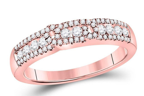 14kt Rose Gold Diamond Womens Triple Row Band Ring 1/2 Cttw