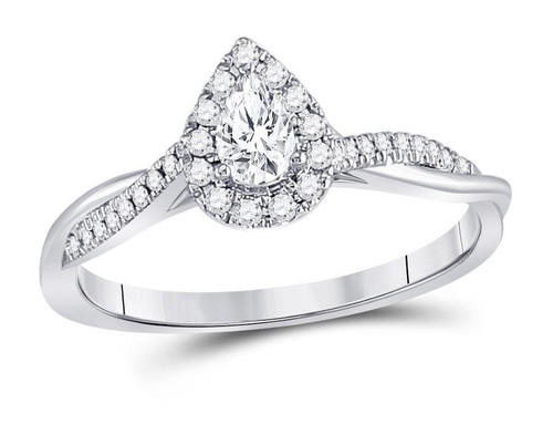 14kt White Gold Pear Diamond Solitaire Twist Womens Bridal Ring 1/3 Cttw