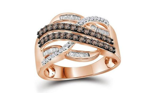 10kt Rose Gold Brown Diamond Womens Croseeover Band Ring 1/2 Cttw