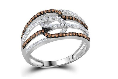 10kt White Gold Brown Diamond Womens Linked Loop Band Ring 1/2 Cttw