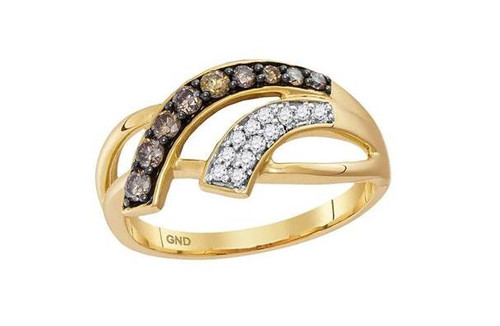 10kt Yellow Gold Brown Diamond Womens Band Ring 1/3 Cttw
